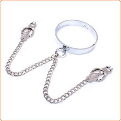 Wholesale Chrome M Slave Collar With Japanese Clover Clamps