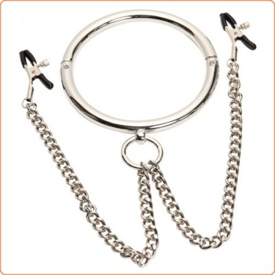 Wholesale Stainless Steel Chrome Slave Collar with Nipple Clamps