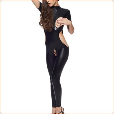 Wholesale New Leather Cupless Hollowed-out Crotchless Jumpsuit
