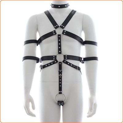 Wholesale Fetish Full Body Harness With Double Cuffs