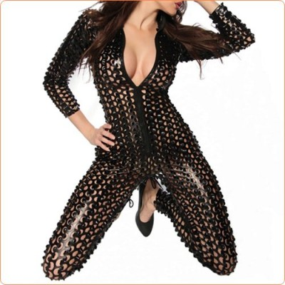Wholesale Slim Patent Leather Hollowed-out Dancing One-piece Suit