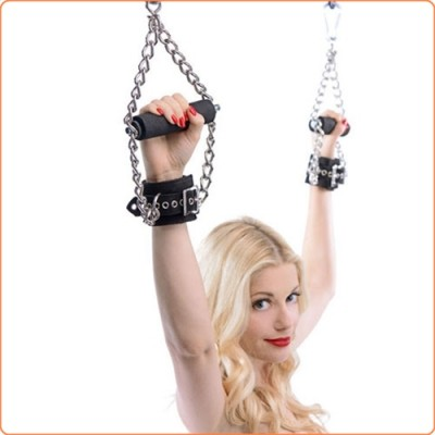 Wholesale Fur Lined Leather Suspension Cuffs with Grip