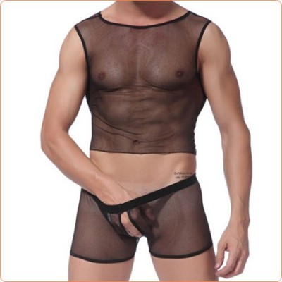 Wholesale Powerful Mesh Penis Open Sexy Men Vest With Hipster