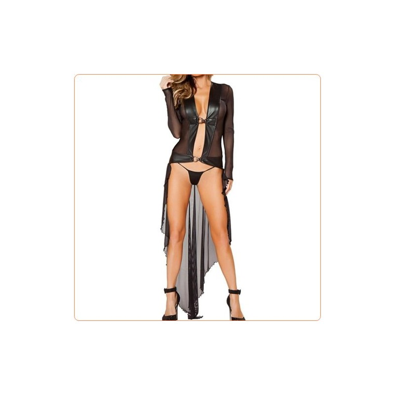 Wholesale Fashion Long-sleeved Mesh Show Dress With Thong