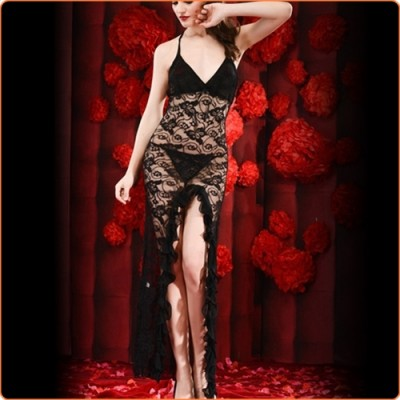 Wholesale Fashion Halter Ruffled Hem Front Split Long Dress With Panty