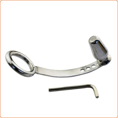 Wholesale Cock Ring with Adjustable Attached Steel Butt Plug
