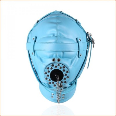Wholesale Sensory Deprivation Hood with Open Mouth Gag - Blue