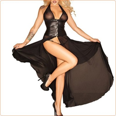 Wholesale Alluring Balck Waist Training Halter Long Dress