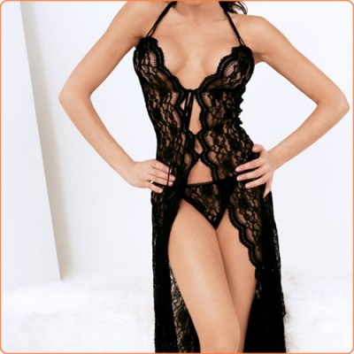 Wholesale Attractive Halter Sheer Lace Hollow Out Split Dress Lingerie