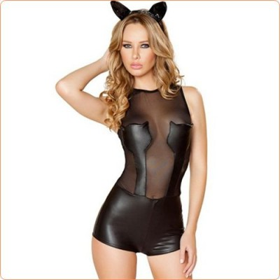 Wholesale Fascinating Leather Game Catwomen One-piece Suit Costume