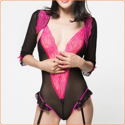 Wholesale Lovely Sexy V-neck See-through Floral Lace Teddy + Short Coat