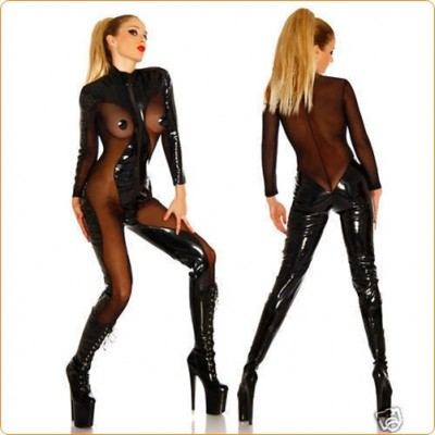 Wholesale Faux Leather Cosplay Costume Bodysuit