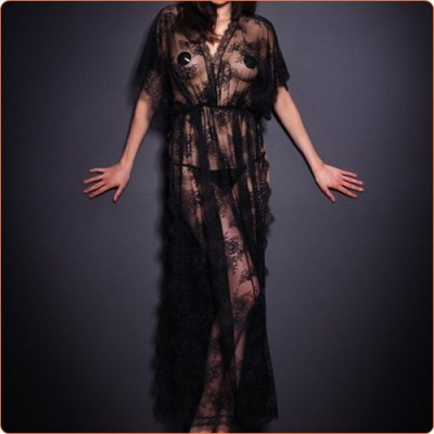 Wholesale Fashion Floral Lace Slitting Robe Long Dress