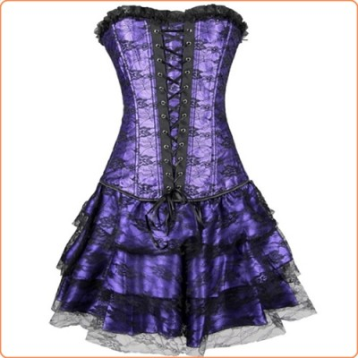 Wholesale Long Overbust Floral Lace Bandage Ladylike Dress Corset