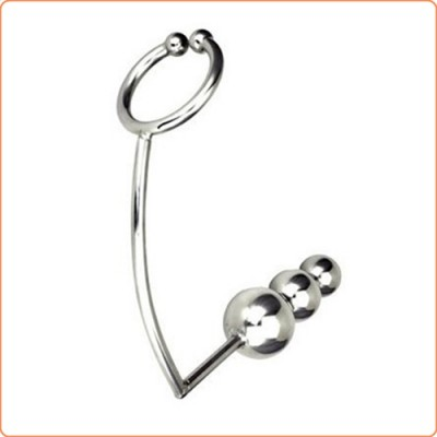 Wholesale Rock Hard Stainless Steel Erection Ring with Anal Plug