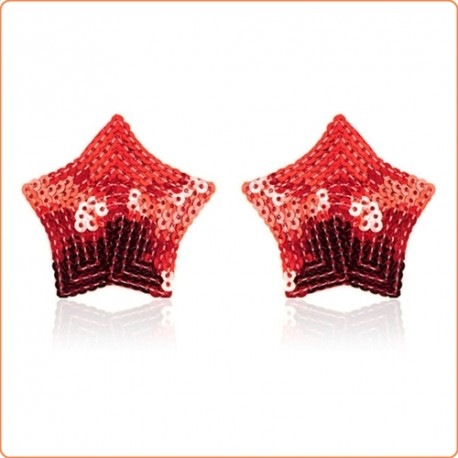 Wholesale Pair of Shiny Red Sequin Star Nipple Pasties Covers