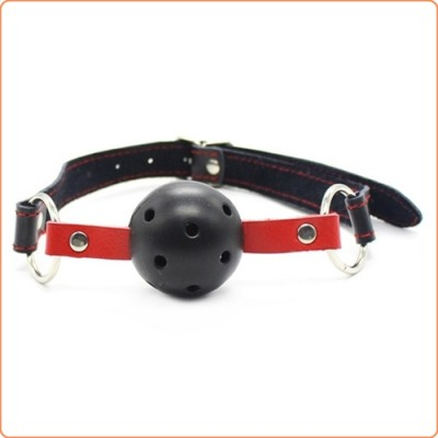 Wholesale Pin Buckle Breathable O Ring Red & Balck Strap Ball Gag