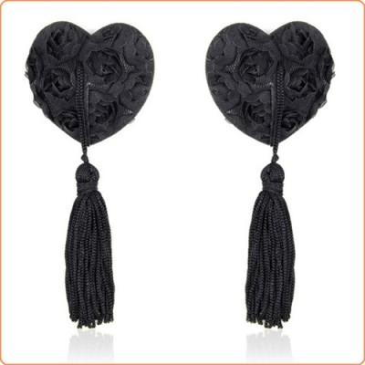 Wholesale Satin Rose Heart Nipple Pasties With Tassel