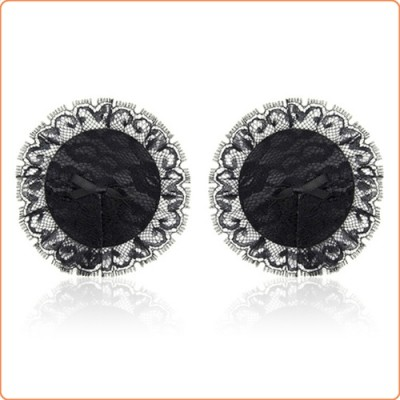 Wholesale Black Nipple Pasties with Lace Overlay