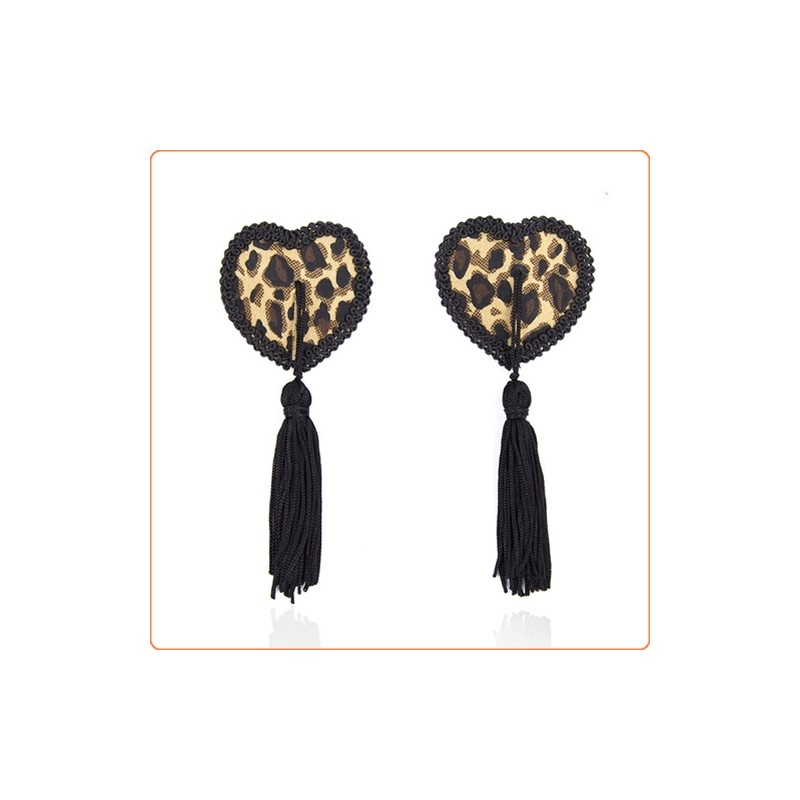 Wholesale Black Tassel Leopard Pasties Nipple Covers