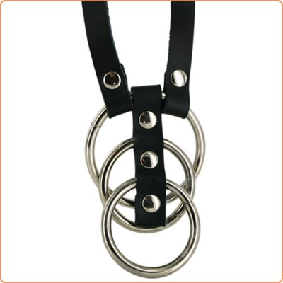 Wholesale Bondage Boutique Three Steel Cock Ring With Strap