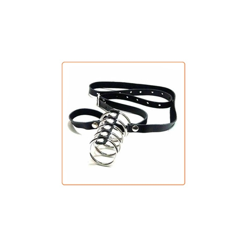 Wholesale Gates of Hell Steel Cock Ring with Strap