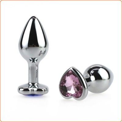 Wholesale Heart Jeweled Stainless Steel Butt Plug - Silver