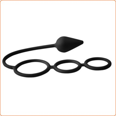 Wholesale Triple Threat Silicone Tri Cock Ring with Anal Plug