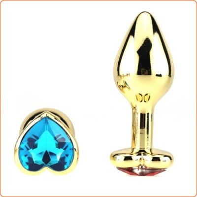 Wholesale Heart Jeweled Stainless Steel Butt Plug - Golden