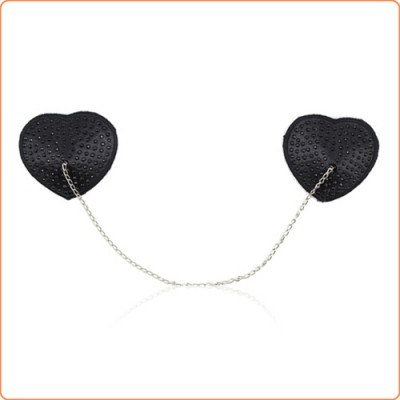 Wholesale Heart Shaped Black Nipple Covers With Stones
