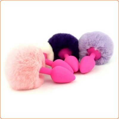 Wholesale Ball Tail Silicone Anal Plug - Pink