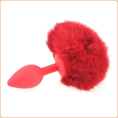 Wholesale Ball Tail Silicone Anal Plug - Red