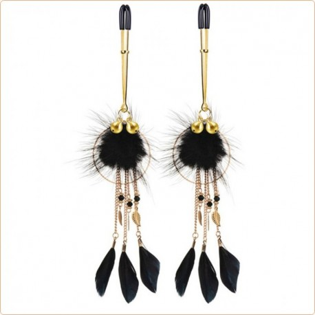 Wholesale Golden Leaf And Feather Nipple Clamp