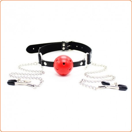 Wholesale Breatheable Ball Gag with Nipple Clamps