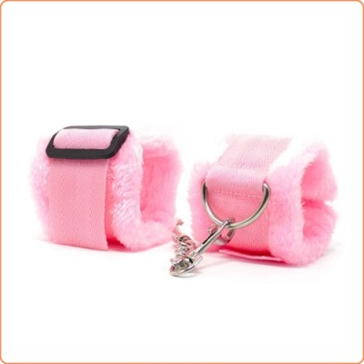 Wholesale Pink Nylon Belt Fur Lined Cuffs