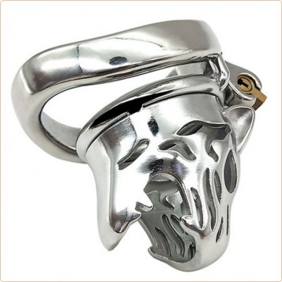 Wholesale Tiger Head Bend Ring Steel Cock Cage