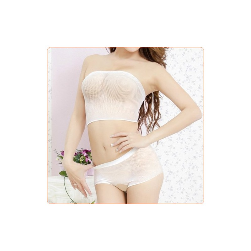 Wholesale Charming Mesh See-through Crotchless Bra And Panty Set Lingerie