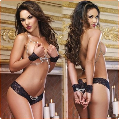 Wholesale Sexy Chain And Lace Splicing Bikini Set